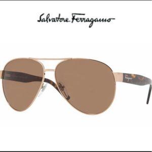 GUC SALVATORE FERRAGAMO Copper & Brown Aviators